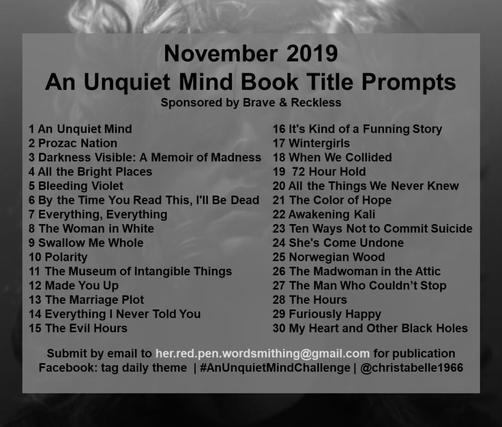 Unquiet Mind Monthly Prompts WordPress.Facebook